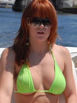 Red hot Erica was dressed to get wet. We got her wet all right. First we wet her appetite with �